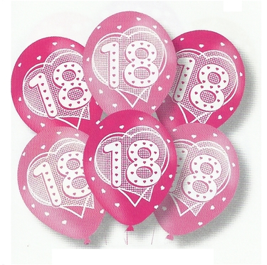 Latex Balloons 18th Birthday Pink