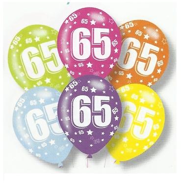 Latex Balloons 65th Birthday Asstd