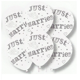 Latex Balloons Just Married White/Silver