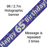 Happy 65th Birthday Banner Streamers 2.7mt Hol