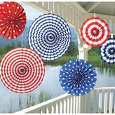 American Patriotic Paper Fans Value Pack 24cm