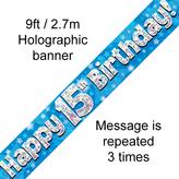 Happy 15th Birthday Banner Blue 2.7mt Holograph