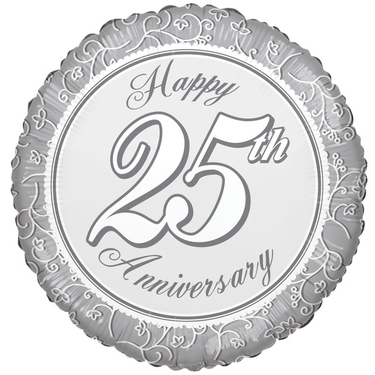 Happy 25th Anniversary Foil Balloon