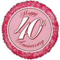 Happy 40th Anniversary Foil Balloon