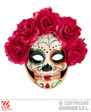 Dia De Los Muertos Eyemask W/Red Roses