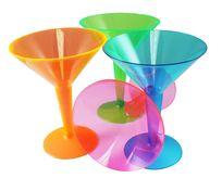Neon Martini Glasses Asstd 2pc