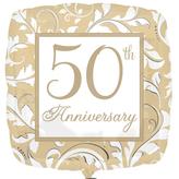 Gold Elegant Scroll 50th Anniversary Foil Balloon
