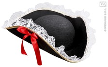 Tricorn Felt W/Lace Trim And Red Bow