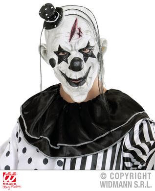 Pierrot Clown Mask W/Mini Hat Black & White - The Party
