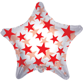 Red Patterned Star Clear View Balloon