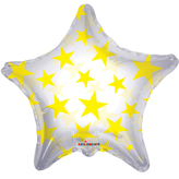 Yellow Patterned Star Clear View Balloon