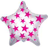 Hot Pink Patterned Star Clear View Balloon