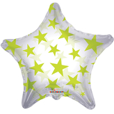 Lime Green Patterned Star Clear View Balloon