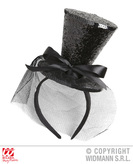 Black Glitter Mini Top Hat On H/Band