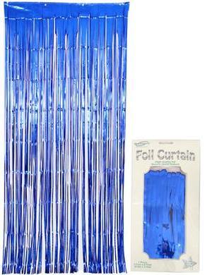 Foil Door Curtain Metallic Blue