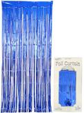 Foil Door Curtain Metallic Blue