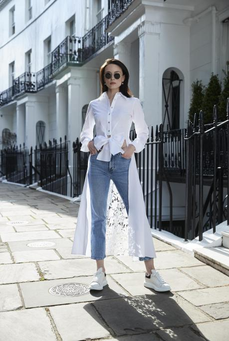 Image of Tie-Front Long Shirt