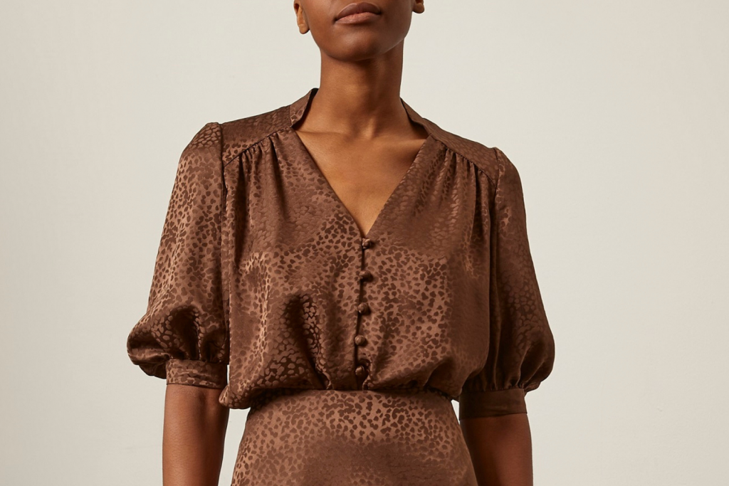 Sassi Holford Silk Brown V Neck Blouse with Puffed Sleeves