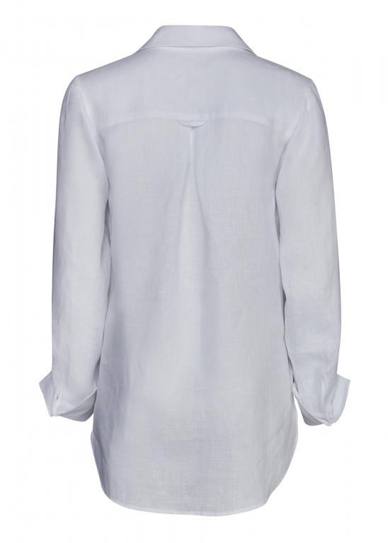 Sassi Holford RTW 2021 Linen Boyfriend Shirt White (Back)