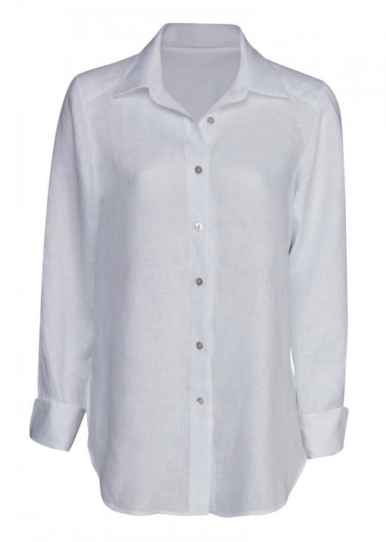 Sassi Holford RTW 2021 Boyfriend Linen Shirt White (Front)