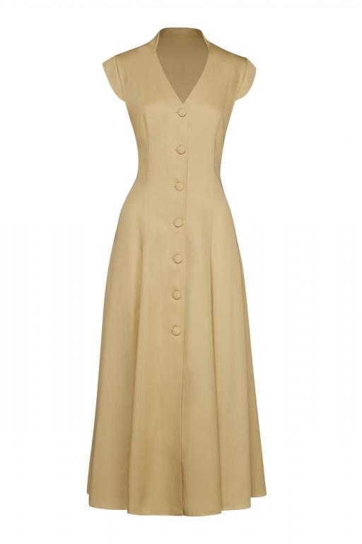 Sassi Holford RTW 2021 Winchester Dress Sand (Front)