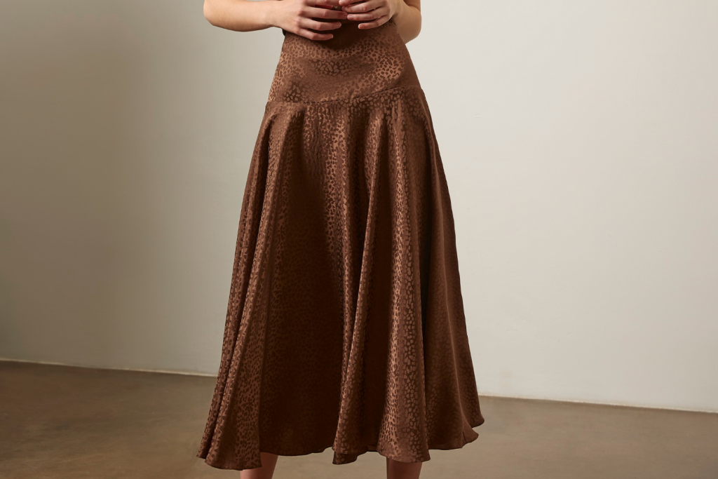 Sassi Holford Silk Brown Ankle Length Skirt