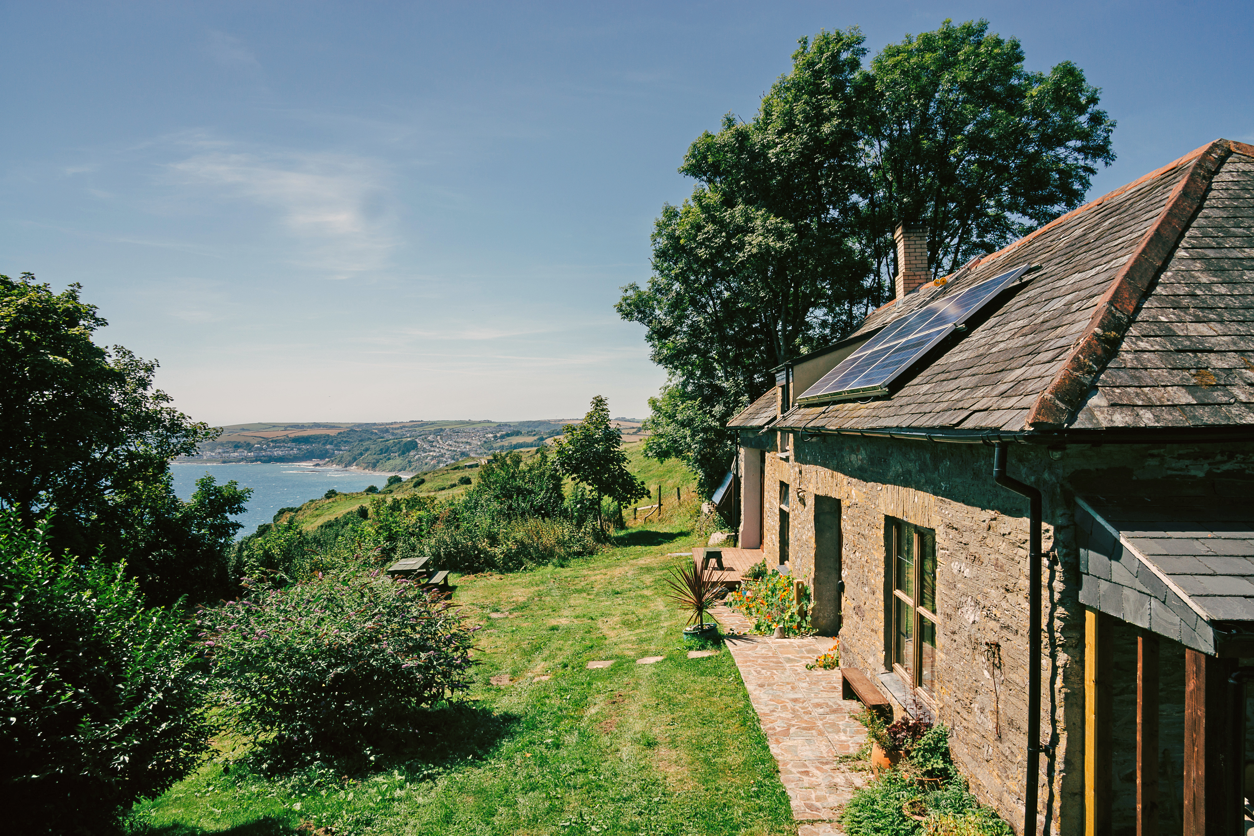 Exterior of The Old Coach House at Windsworth in Cornwall, looking out to sea