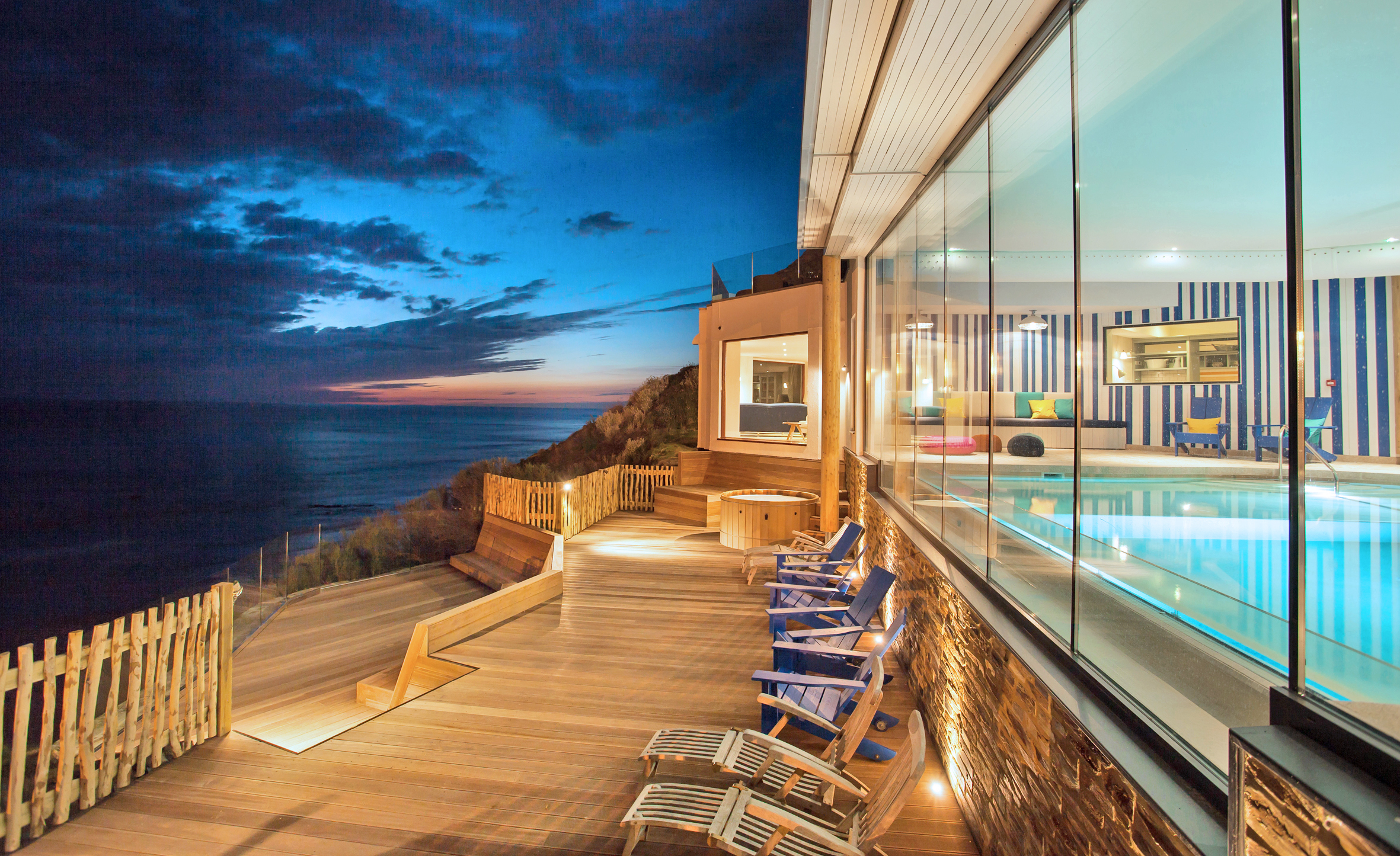 Pool terrace with beautiful sea view at Watergate Bay Hotel in Cornwall