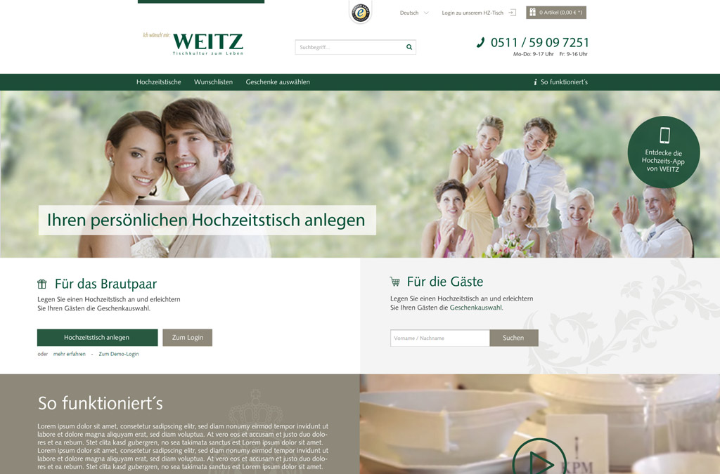 Hochzeitstisch Online