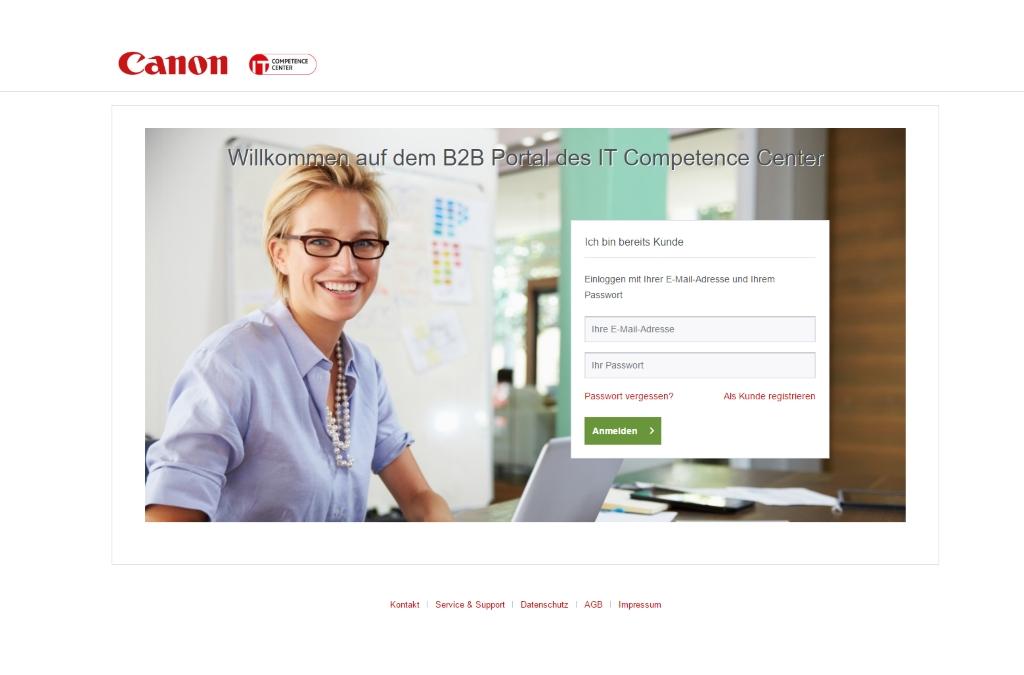 B2B Portal des Canon IT Competence Centers