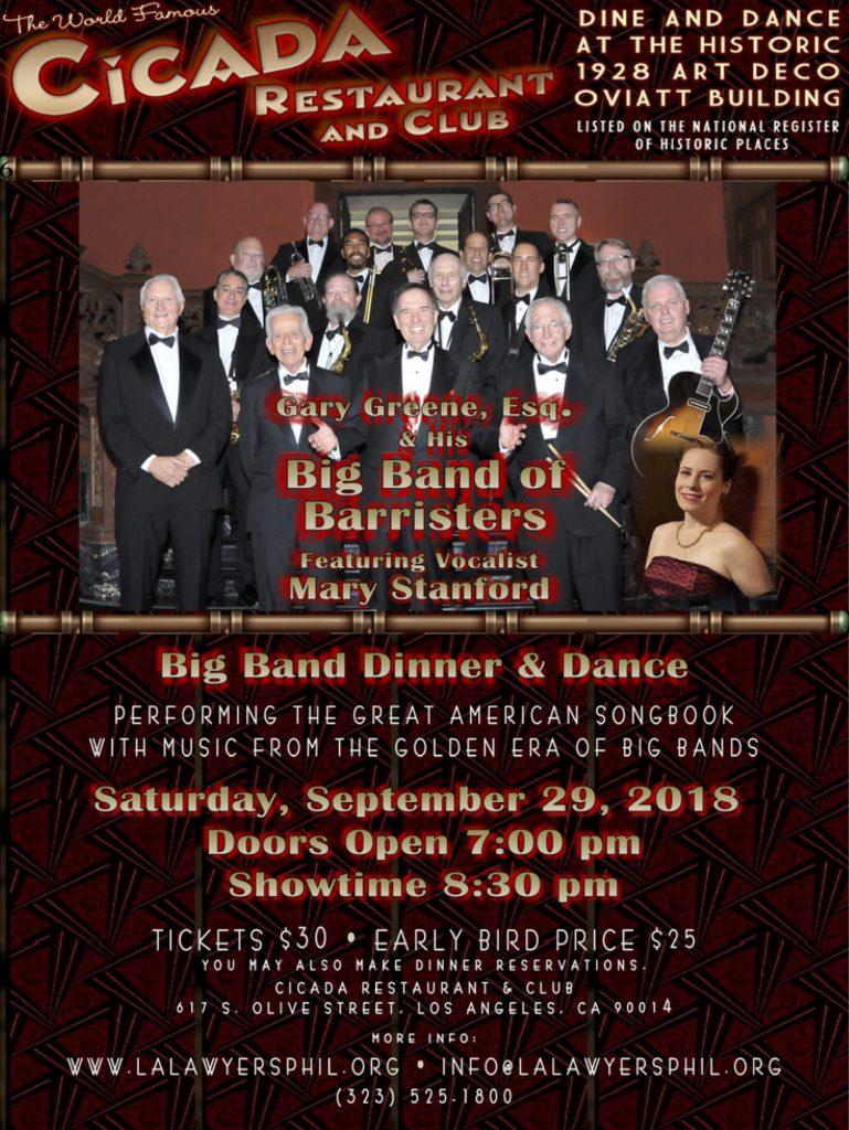 Saturday, September 29 – BIG BAND DINNER & DANCE at HISTORIC CICADA CLUB