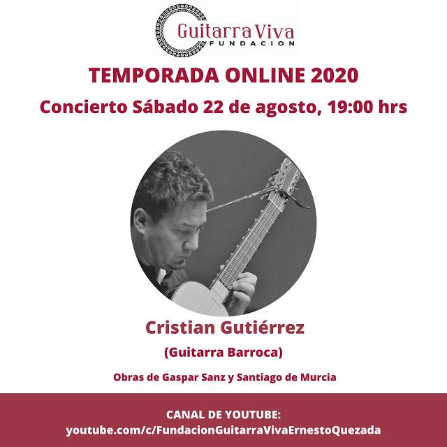 Concierto online de guitarra barroca a cargo del destacado músico nacional Cristián Gutiérrez