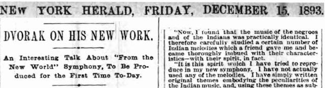 Premières auditions de la Symphonie du Nouveau Monde - The New York Herald, 15 décembre 1893