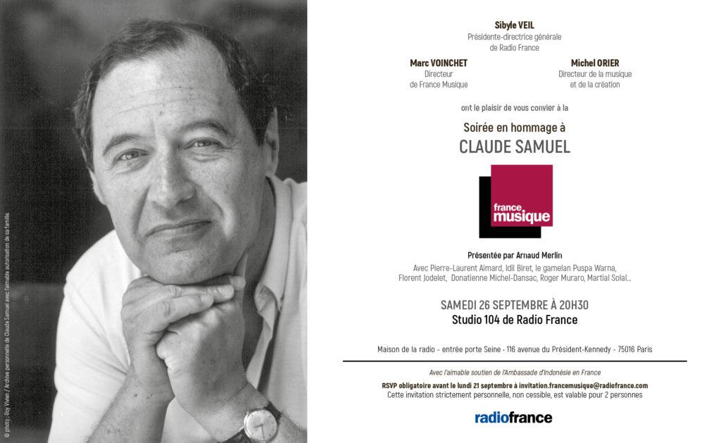 Diffusion sur France Musique de la Soirée en hommage à Claude Samuel