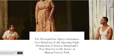"""OperaWire.com: The Metropolitan Opera announced its free simulcast of the opening night and season-launching performance of Terence Blanchard's """"Fire"""""""