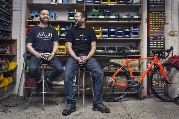Paul Topham, owner South Coast Bikes and Dom Mason, founder of Mason Cycles