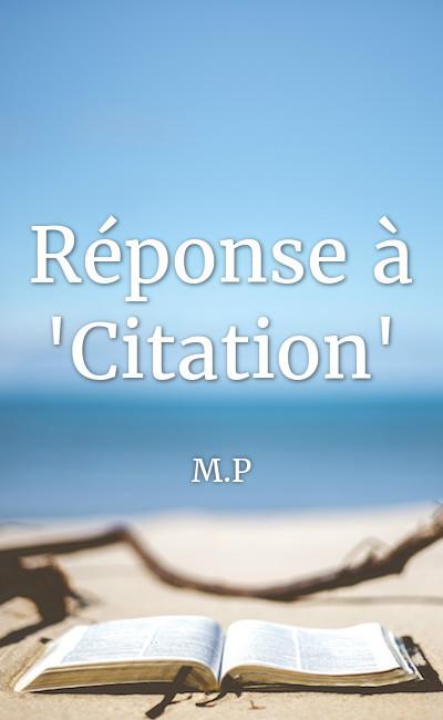 """Image de couverture de Réponse à """"Citation"""""""