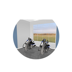 An exercise corner in the lobby