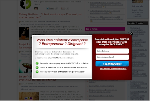 Pop-up publicitaire sur un site