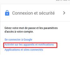 Activité sur les appareils et notifications