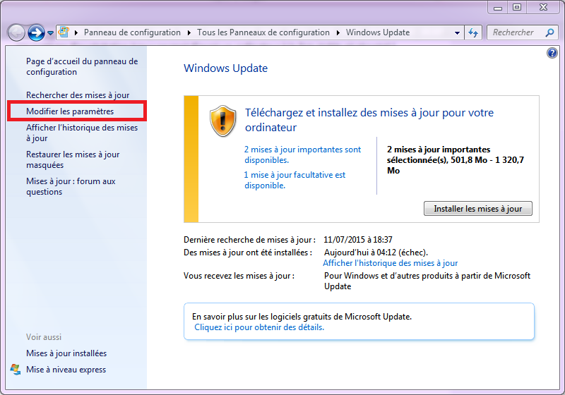 Windows Update dans Windows 7
