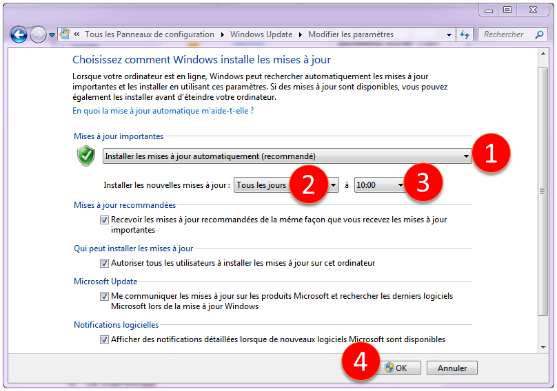 Modification des paramètre de Windows Updadte