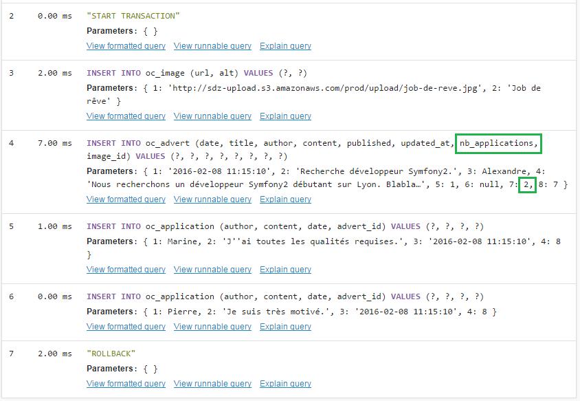 Les requêtes SQL générées pour insérer l'annonce et les deux candidatures