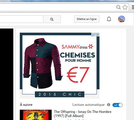 Publicité du site que nous venons de visiter sur YouTube