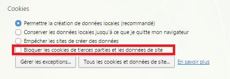 Bloquer les cookies de tierces parties et les données de site