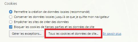 Tous les cookies et données de site