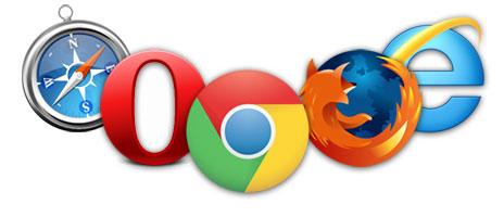 Les cinq navigateurs principaux : Safari, Opera, Chrome, Firefox et IE