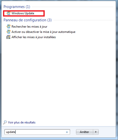 Cherchez Windows Update
