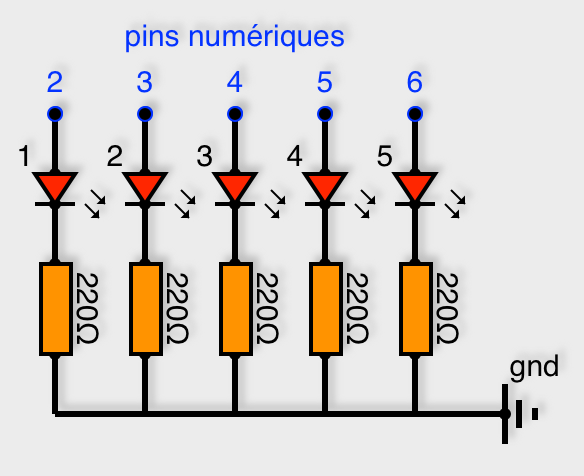 5 LED attachées au pins 2 à 6