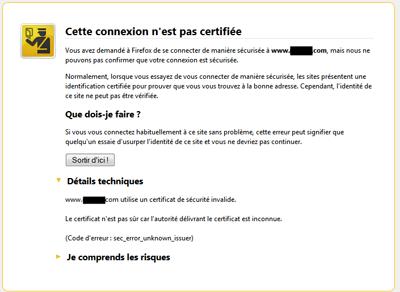 Message de CA inconnu sous Firefox